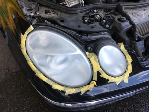 ヘッドライト黄ばみ 除去 途中